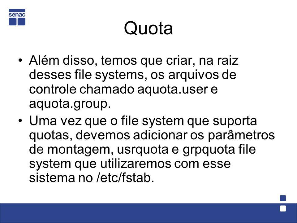 Quotas por usuário 5 – Consulte a quota do usuário apolo: # quota -u apolo 6 – efetue login em outro terminal utilizando o usuário apolo e vamos rodar o script lota- disco.