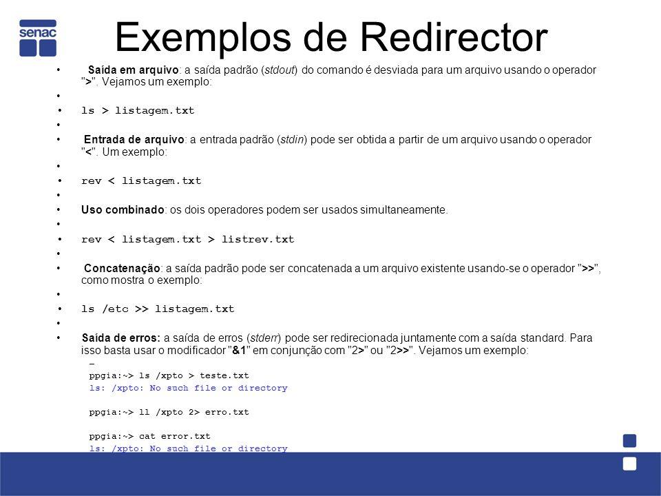 Saída em arquivo: a saída padrão (stdout) do comando é desviada para um arquivo usando o operador