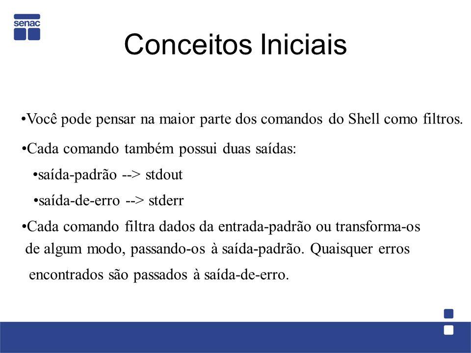 Conceitos Iniciais Você pode pensar na maior parte dos comandos do Shell como filtros. Cada comando também possui duas saídas: saída-padrão --> stdout