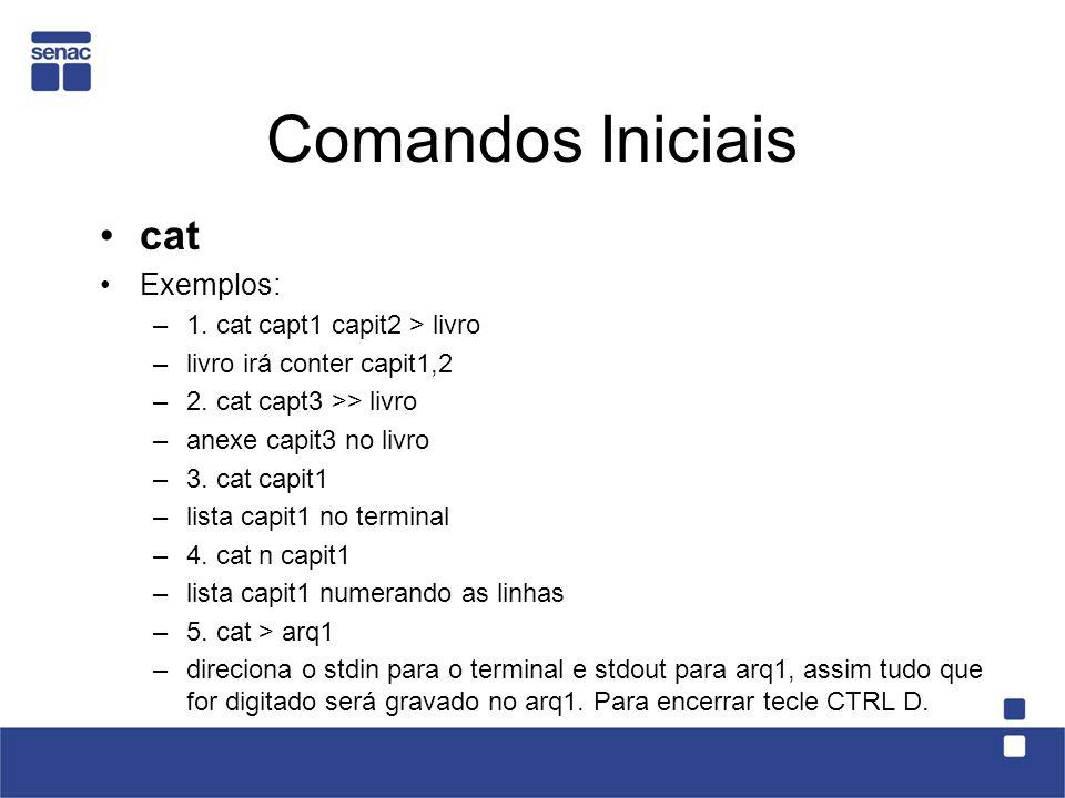 Comandos Iniciais cat Exemplos: –1. cat capt1 capit2 > livro –livro irá conter capit1,2 –2. cat capt3 >> livro –anexe capit3 no livro –3. cat capit1 –
