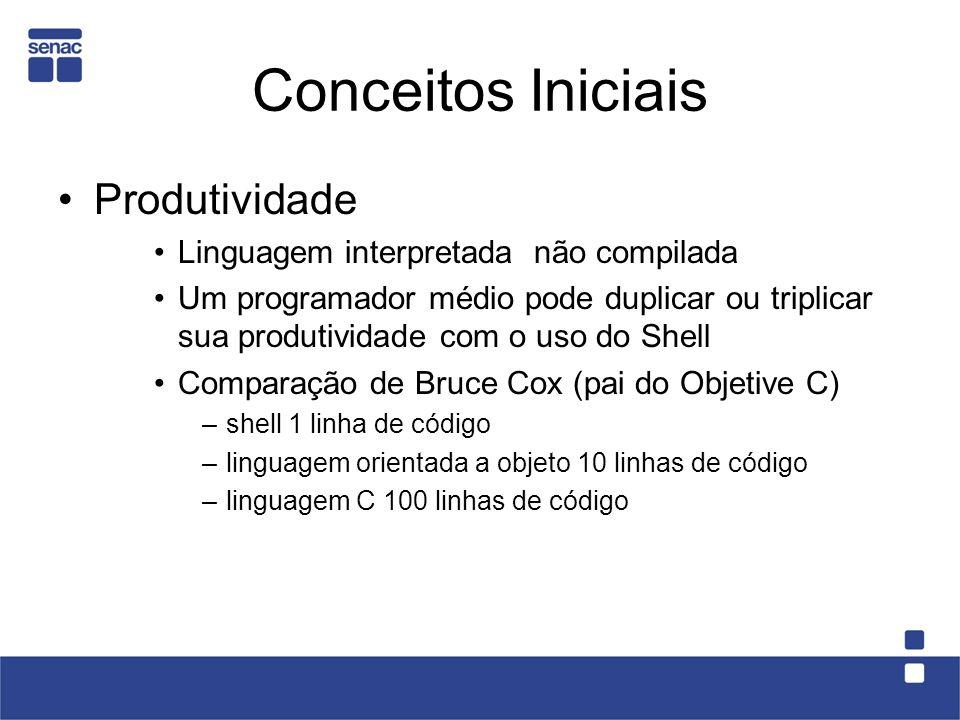Conceitos Iniciais Produtividade Linguagem interpretada  não compilada Um programador médio pode duplicar ou triplicar sua produtividade com o uso do