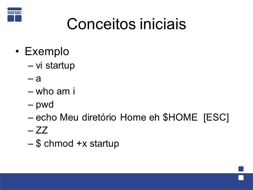 Conceitos iniciais Exemplo –vi startup –a –who am i –pwd –echo Meu diretório Home eh $HOME [ESC] –ZZ –$ chmod +x startup