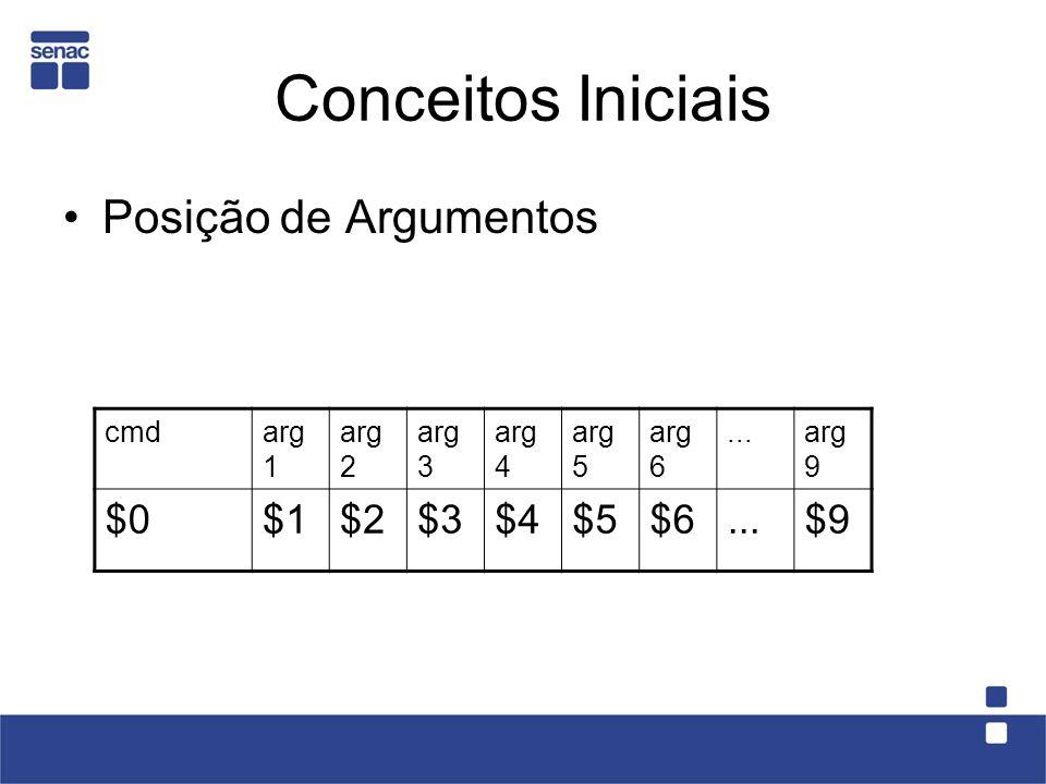 Conceitos Iniciais Posição de Argumentos cmdarg 1 arg 2 arg 3 arg 4 arg 5 arg 6...arg 9 $0$1$2$3$4$5$6...$9