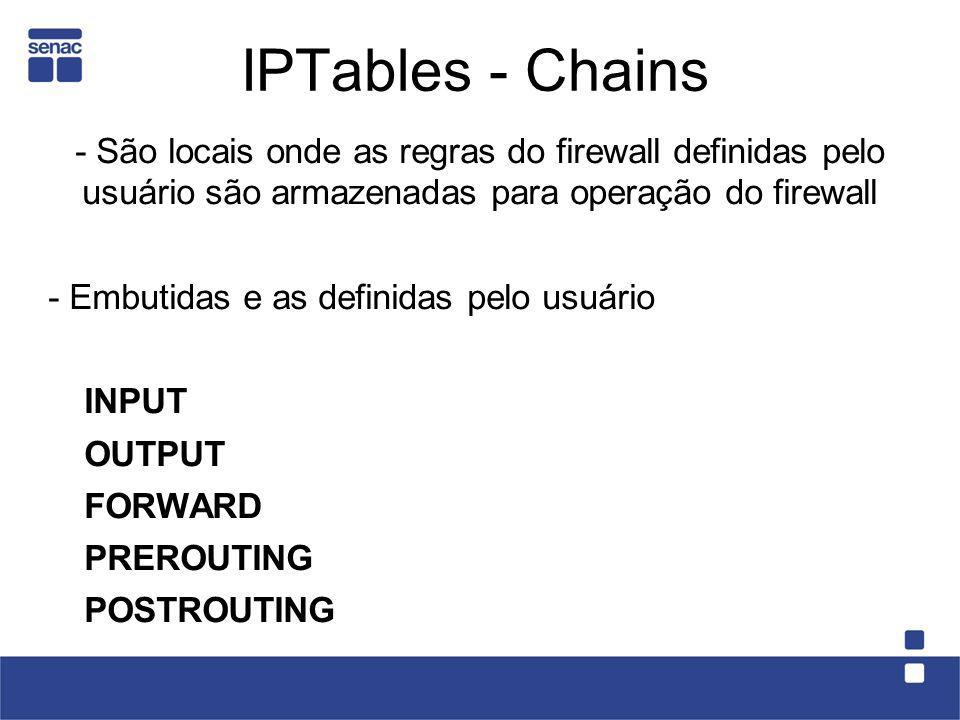 IPTables - Chains - São locais onde as regras do firewall definidas pelo usuário são armazenadas para operação do firewall - Embutidas e as definidas