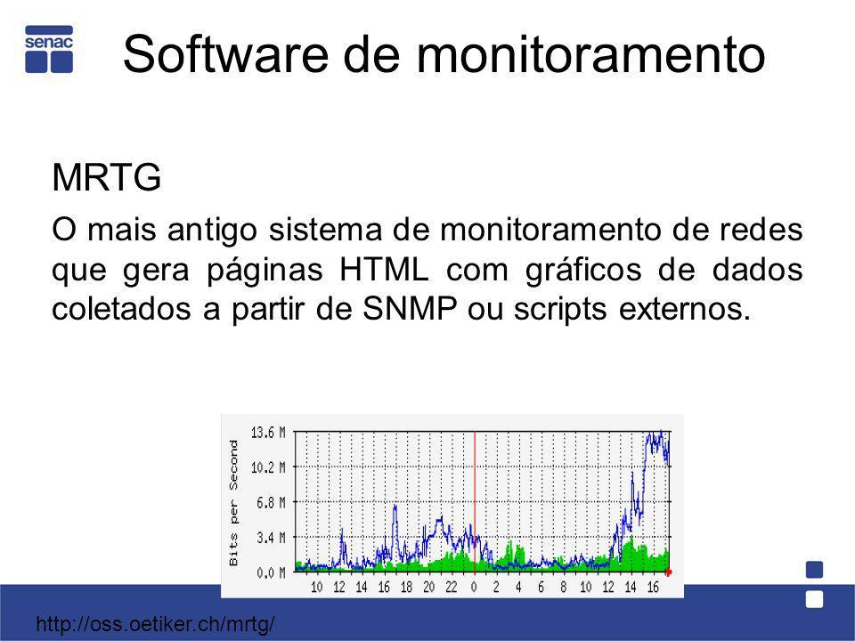 Software de monitoramento MRTG O mais antigo sistema de monitoramento de redes que gera páginas HTML com gráficos de dados coletados a partir de SNMP