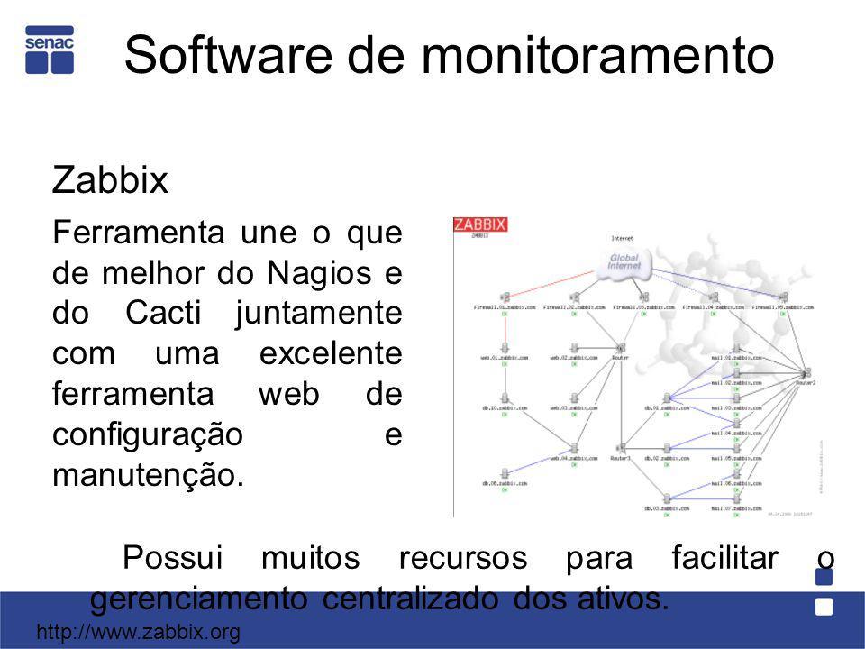 Software de monitoramento Zabbix Ferramenta une o que de melhor do Nagios e do Cacti juntamente com uma excelente ferramenta web de configuração e man
