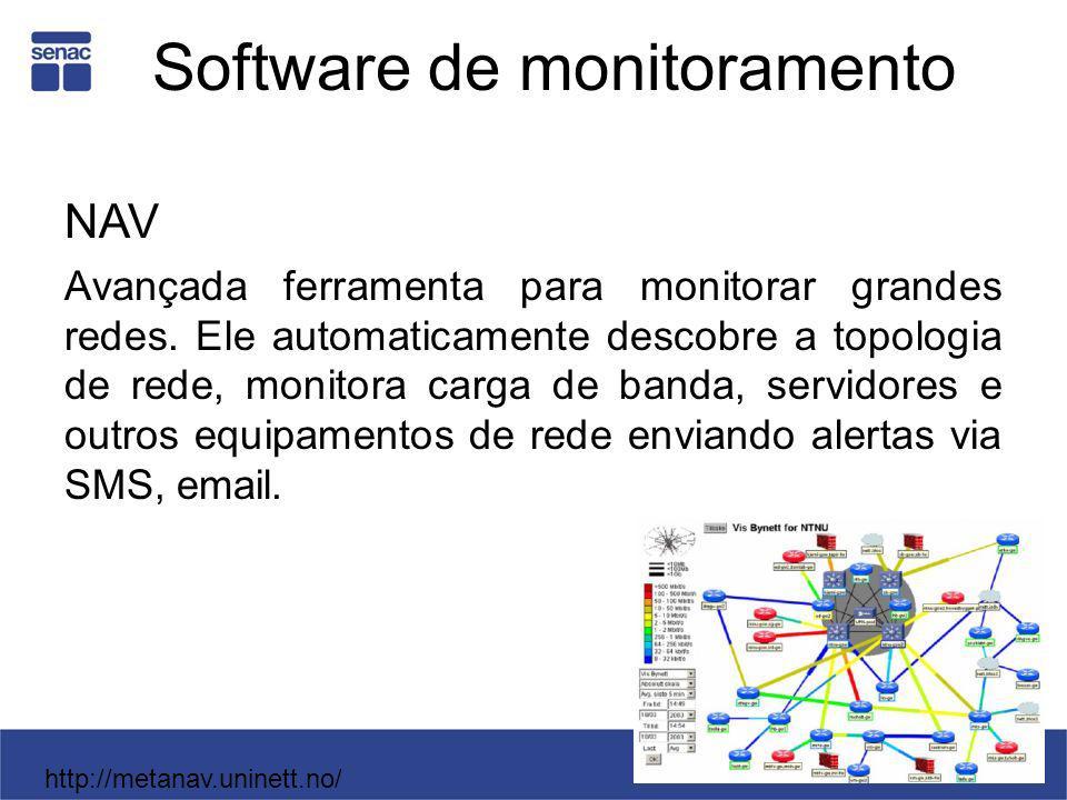Software de monitoramento NAV Avançada ferramenta para monitorar grandes redes. Ele automaticamente descobre a topologia de rede, monitora carga de ba