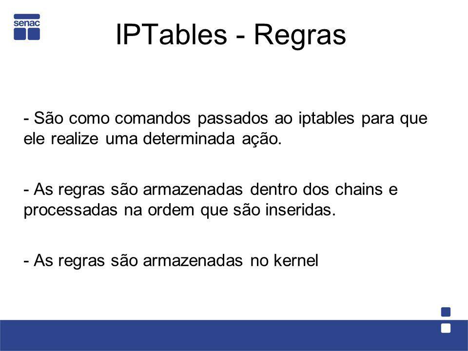 IPTables - Regras - São como comandos passados ao iptables para que ele realize uma determinada ação. - As regras são armazenadas dentro dos chains e