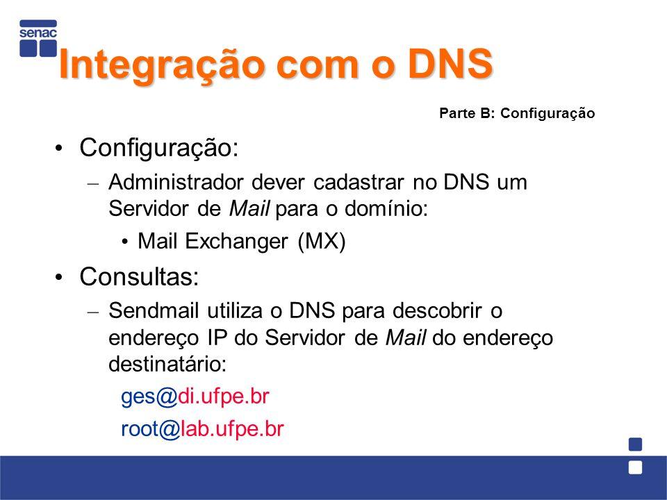Configuração: – Administrador dever cadastrar no DNS um Servidor de Mail para o domínio: Mail Exchanger (MX) Consultas: – Sendmail utiliza o DNS para descobrir o endereço IP do Servidor de Mail do endereço destinatário: ges@di.ufpe.br root@lab.ufpe.br Parte B: Configuração Integração com o DNS