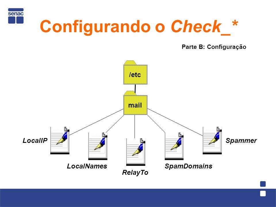 mail /etc LocalIP LocalNames RelayTo SpamDomains Spammer Parte B: Configuração Configurando o Check_*