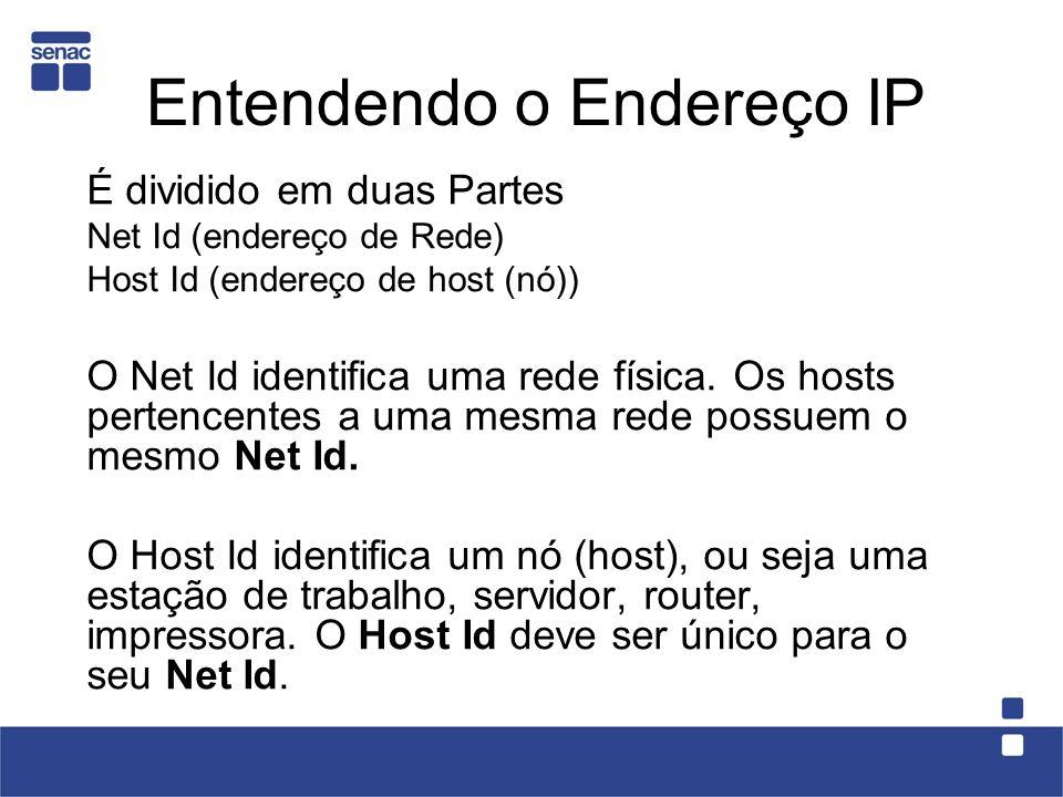 Entendendo o Endereço IP É dividido em duas Partes Net Id (endereço de Rede) Host Id (endereço de host (nó)) O Net Id identifica uma rede física.