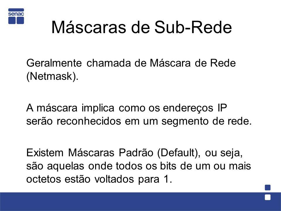 Máscaras de Sub-Rede Geralmente chamada de Máscara de Rede (Netmask).