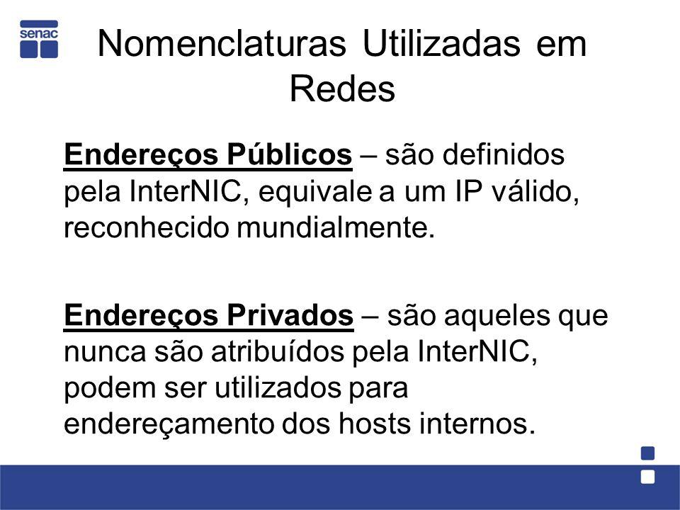 Nomenclaturas Utilizadas em Redes Endereços Públicos – são definidos pela InterNIC, equivale a um IP válido, reconhecido mundialmente.