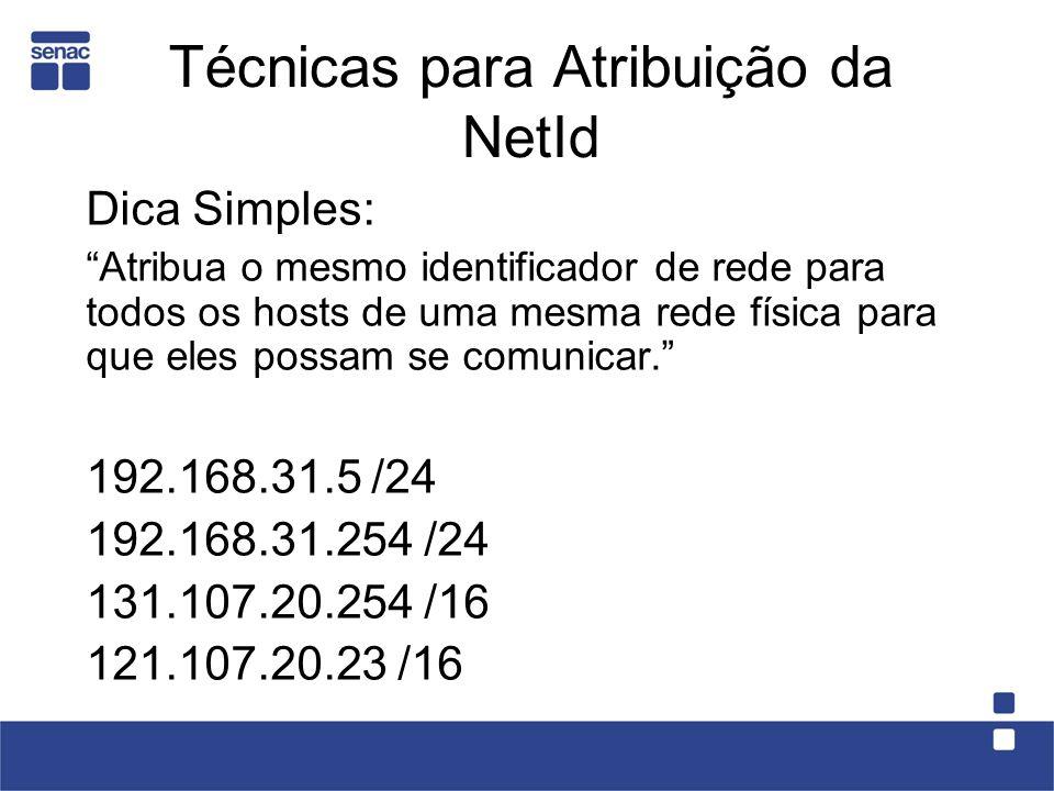 Técnicas para Atribuição da NetId Dica Simples: Atribua o mesmo identificador de rede para todos os hosts de uma mesma rede física para que eles possam se comunicar.