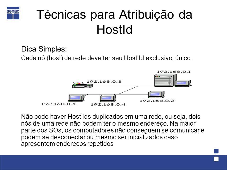 Técnicas para Atribuição da HostId Dica Simples: Cada nó (host) de rede deve ter seu Host Id exclusivo, único.