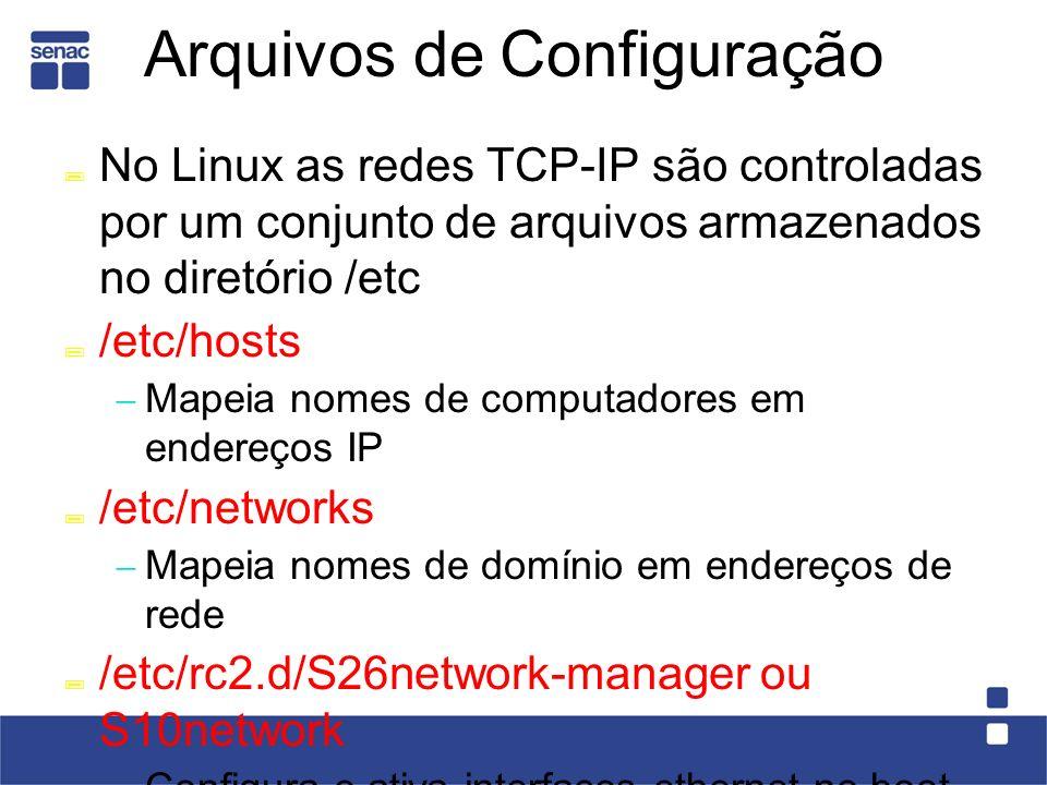 Arquivos de Configuração No Linux as redes TCP-IP são controladas por um conjunto de arquivos armazenados no diretório /etc /etc/hosts Mapeia nomes de computadores em endereços IP /etc/networks Mapeia nomes de domínio em endereços de rede /etc/rc2.d/S26network-manager ou S10network Configura e ativa interfaces ethernet no boot /etc/resolv.conf Indica onde estão os servidores de nomes