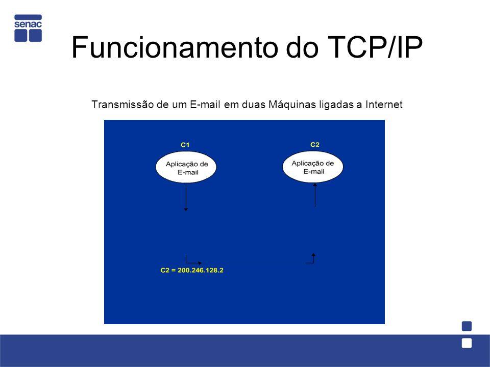 Funcionamento do TCP/IP Transmissão de um E-mail em duas Máquinas ligadas a Internet