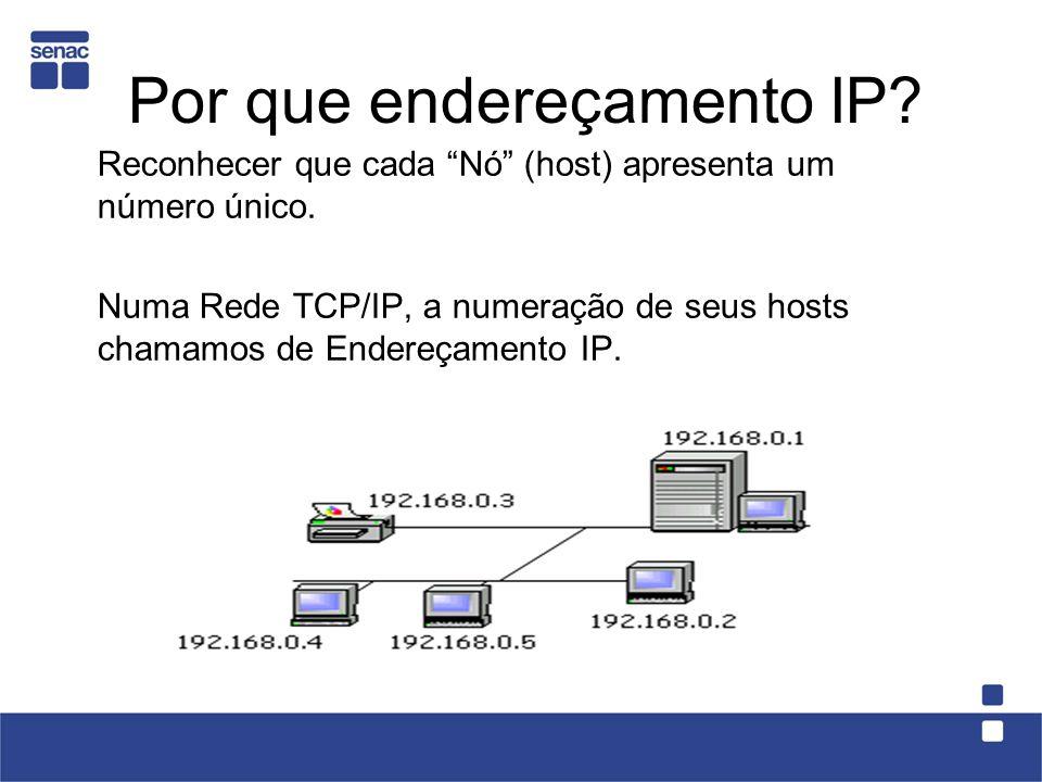 Por que endereçamento IP. Reconhecer que cada Nó (host) apresenta um número único.