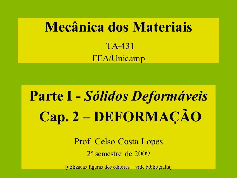 Mecânica dos Materiais TA-431 FEA/Unicamp Parte I - Sólidos Deformáveis Cap. 2 – DEFORMAÇÃO Prof. Celso Costa Lopes 2º semestre de 2009 [utilizadas fi
