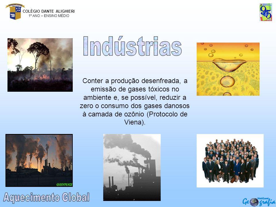 COLÉGIO DANTE ALIGHIERI 1º ANO – ENSINO MÉDIO Conter a produção desenfreada, a emissão de gases tóxicos no ambiente e, se possível, reduzir a zero o c