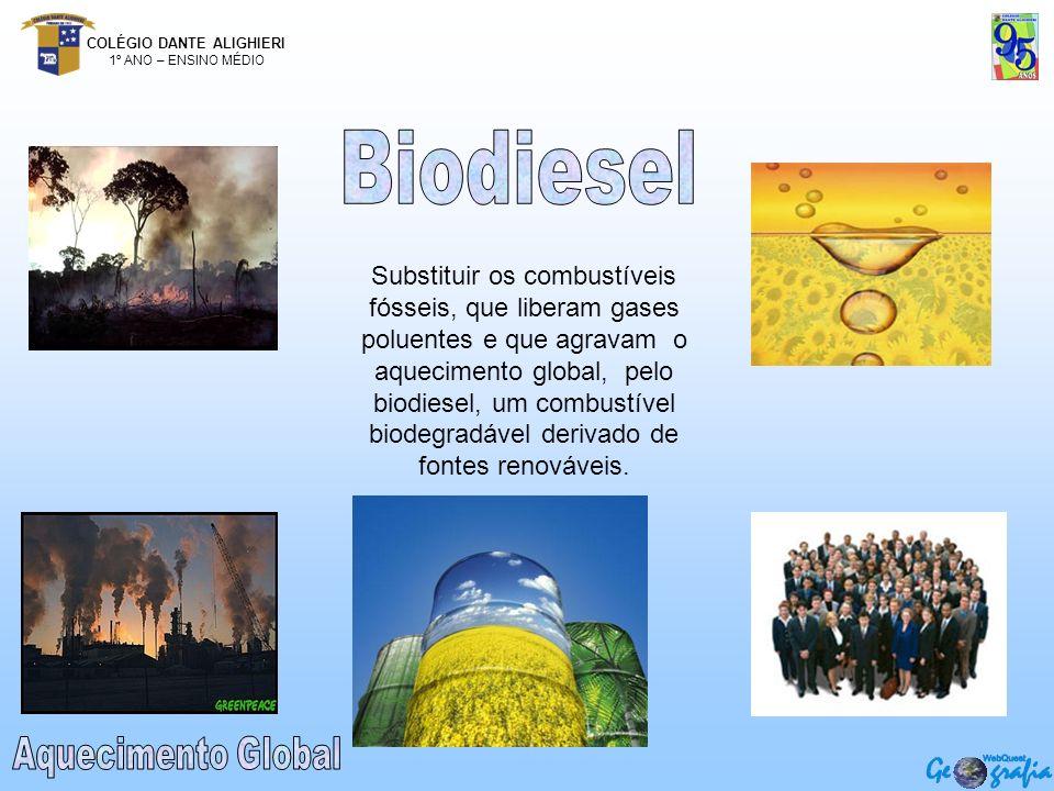 COLÉGIO DANTE ALIGHIERI 1º ANO – ENSINO MÉDIO Substituir os combustíveis fósseis, que liberam gases poluentes e que agravam o aquecimento global, pelo