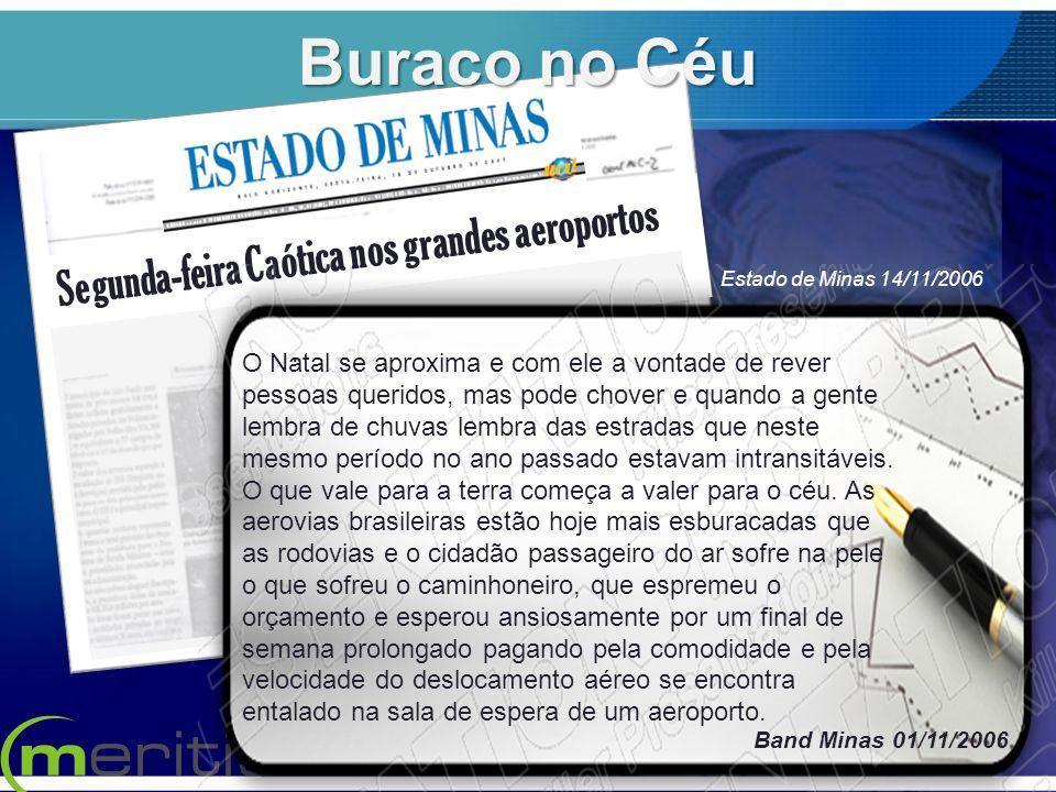 Segunda-feira Caótica nos grandes aeroportos. Band Minas 01/11/2006 Estado de Minas 14/11/2006 Buraco no Céu O Natal se aproxima e com ele a vontade d