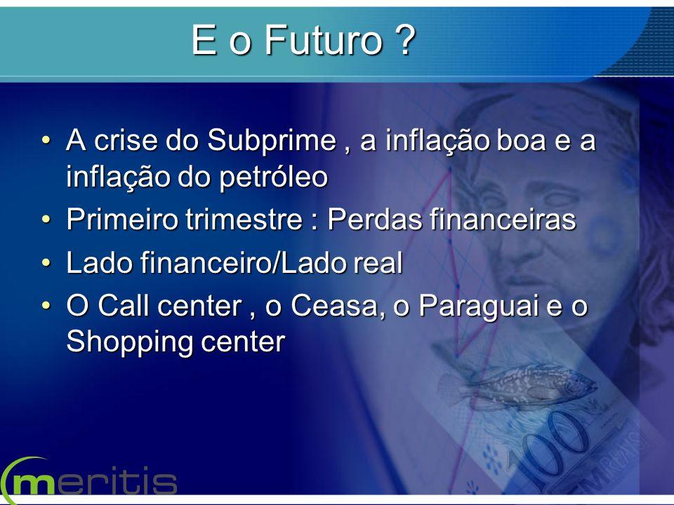 E o Futuro ? A crise do Subprime, a inflação boa e a inflação do petróleoA crise do Subprime, a inflação boa e a inflação do petróleo Primeiro trimest