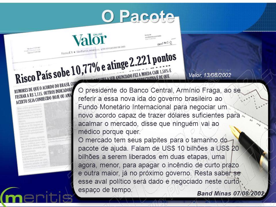 Risco País sobe 10,77% e atinge 2.221 pontos RUMORES DE QUE O ACORDO DO BRASIL COM O FMI ESTÁ PRESTES A SER ANUNCIADO FEZ A MOEDA CAIR 1,58% E FECHAR