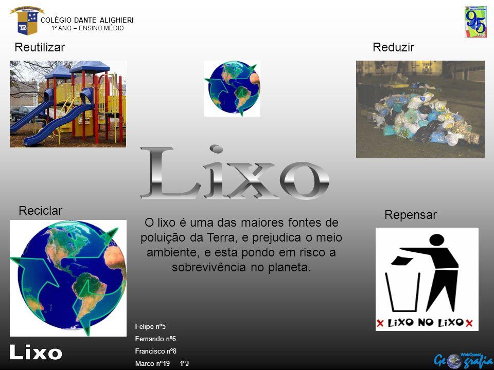 COLÉGIO DANTE ALIGHIERI 1º ANO – ENSINO MÉDIO ReutilizarReduzir Reciclar Repensar O lixo é uma das maiores fontes de poluição da Terra, e prejudica o