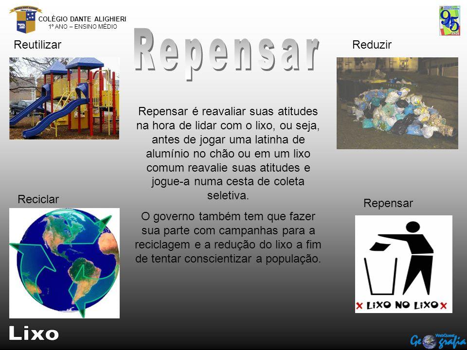 COLÉGIO DANTE ALIGHIERI 1º ANO – ENSINO MÉDIO ReutilizarReduzir Reciclar Repensar Repensar é reavaliar suas atitudes na hora de lidar com o lixo, ou s