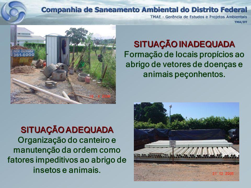 SITUAÇÃO INADEQUADA Formação de locais propícios ao abrigo de vetores de doenças e animais peçonhentos. SITUAÇÃO ADEQUADA Organização do canteiro e ma