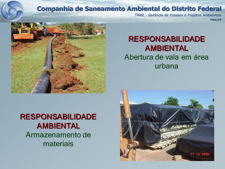 RESPONSABILIDADE AMBIENTAL Abertura de vala em área urbana RESPONSABILIDADE AMBIENTAL Armazenamento de materiais