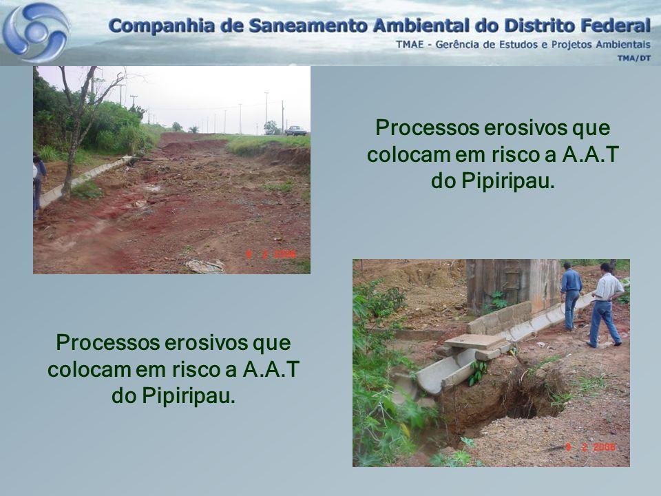 Processos erosivos que colocam em risco a A.A.T do Pipiripau. Processos erosivos que colocam em risco a A.A.T do Pipiripau.