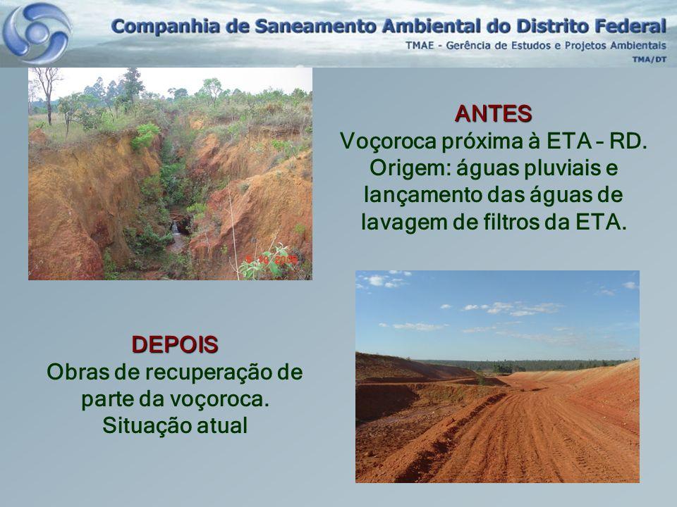 ANTES Voçoroca próxima à ETA – RD. Origem: águas pluviais e lançamento das águas de lavagem de filtros da ETA. DEPOIS Obras de recuperação de parte da