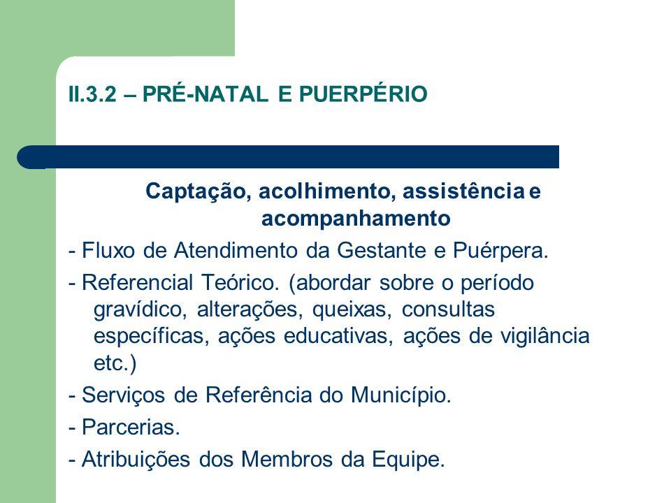 II.3.2 – PRÉ-NATAL E PUERPÉRIO Captação, acolhimento, assistência e acompanhamento - Fluxo de Atendimento da Gestante e Puérpera. - Referencial Teóric
