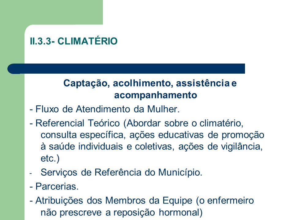 II.3.3- CLIMATÉRIO Captação, acolhimento, assistência e acompanhamento - Fluxo de Atendimento da Mulher. - Referencial Teórico (Abordar sobre o climat
