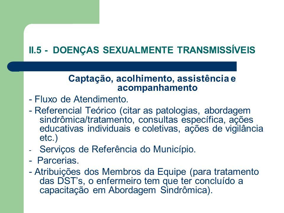 II.5 - DOENÇAS SEXUALMENTE TRANSMISSÍVEIS Captação, acolhimento, assistência e acompanhamento - Fluxo de Atendimento. - Referencial Teórico (citar as