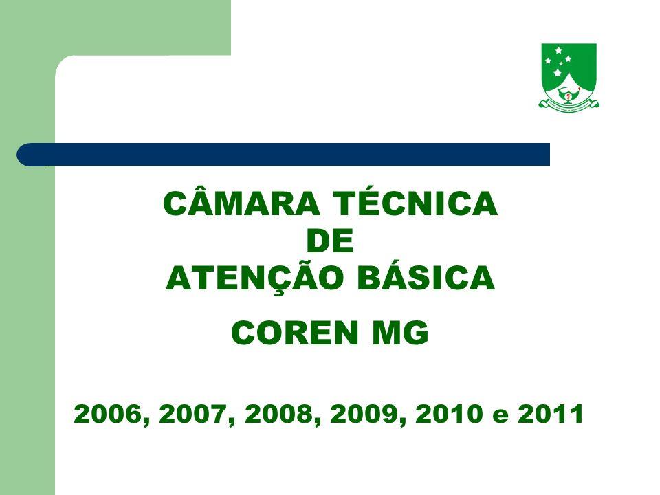 CÂMARA TÉCNICA DE ATENÇÃO BÁSICA COREN MG 2006, 2007, 2008, 2009, 2010 e 2011
