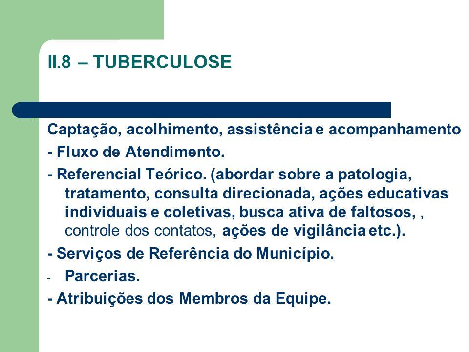 II.8 – TUBERCULOSE Captação, acolhimento, assistência e acompanhamento - Fluxo de Atendimento. - Referencial Teórico. (abordar sobre a patologia, trat