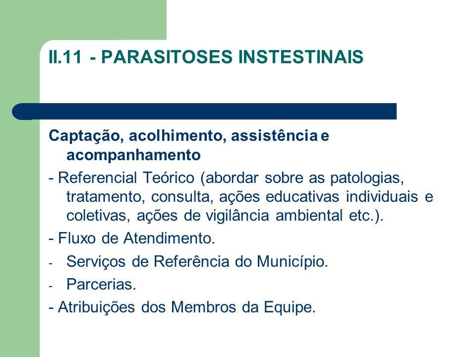 II.11 - PARASITOSES INSTESTINAIS Captação, acolhimento, assistência e acompanhamento - Referencial Teórico (abordar sobre as patologias, tratamento, c