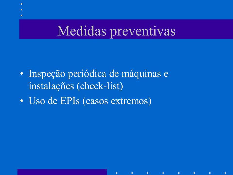 Medidas preventivas Inspeção periódica de máquinas e instalações (check-list) Uso de EPIs (casos extremos)