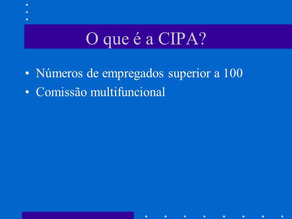 O que é a CIPA? Números de empregados superior a 100 Comissão multifuncional