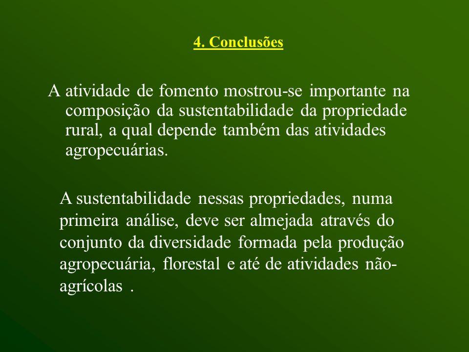 4. Conclusões A atividade de fomento mostrou-se importante na composição da sustentabilidade da propriedade rural, a qual depende também das atividade