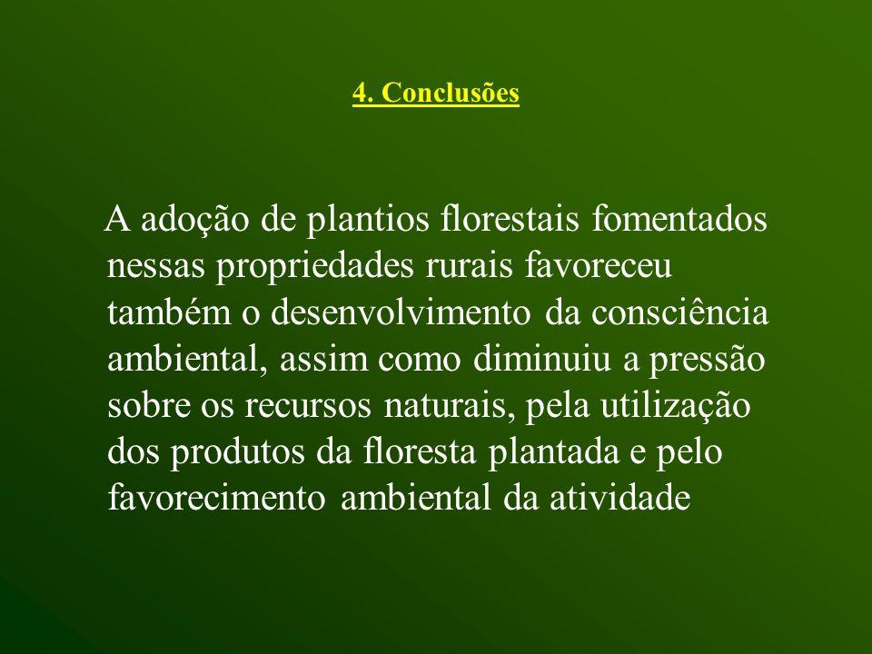 A adoção de plantios florestais fomentados nessas propriedades rurais favoreceu também o desenvolvimento da consciência ambiental, assim como diminuiu