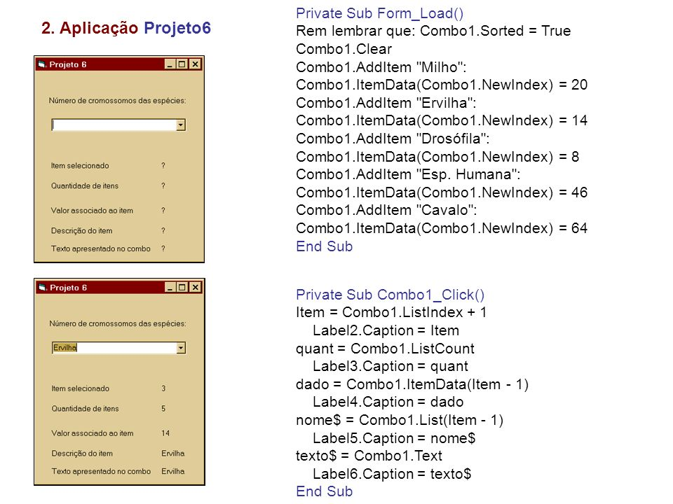 3. Aplicação Projeto7 Selecionando itens numa caixa listbox