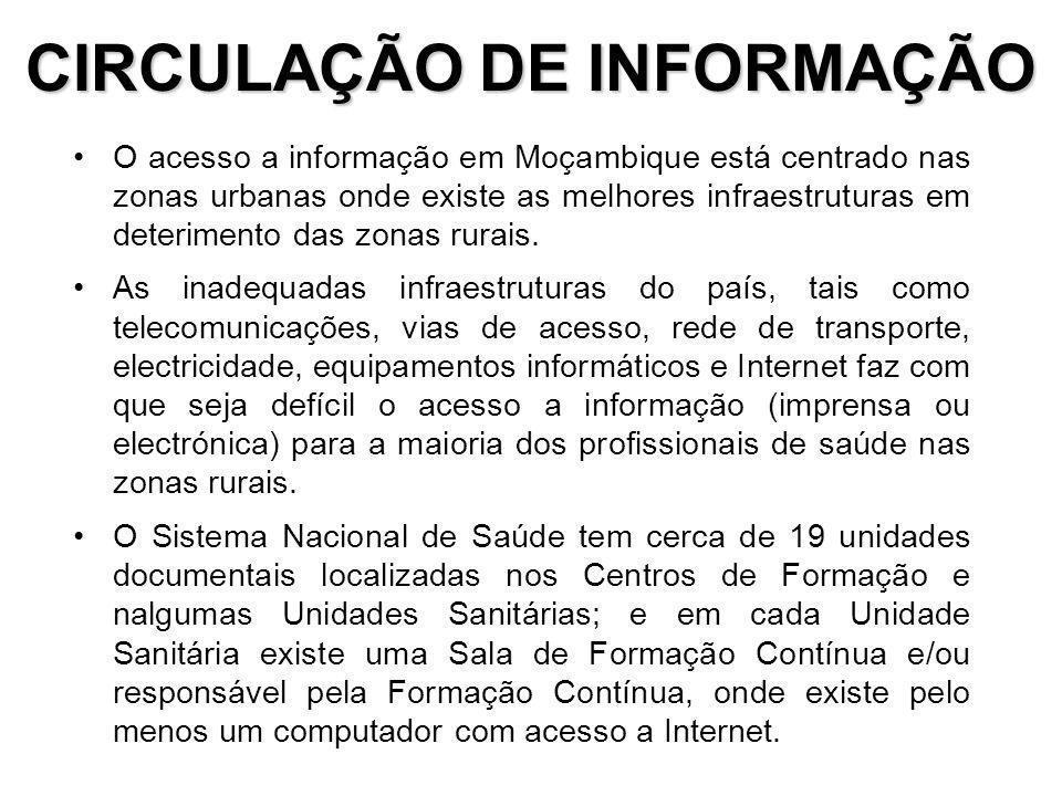 CIRCULAÇÃO DE INFORMAÇÃO O acesso a informação em Moçambique está centrado nas zonas urbanas onde existe as melhores infraestruturas em deterimento das zonas rurais.