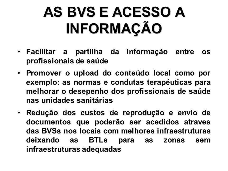 AS BVS E ACESSO A INFORMAÇÃO Facilitar a partilha da informação entre os profissionais de saúde Promover o upload do conteúdo local como por exemplo: