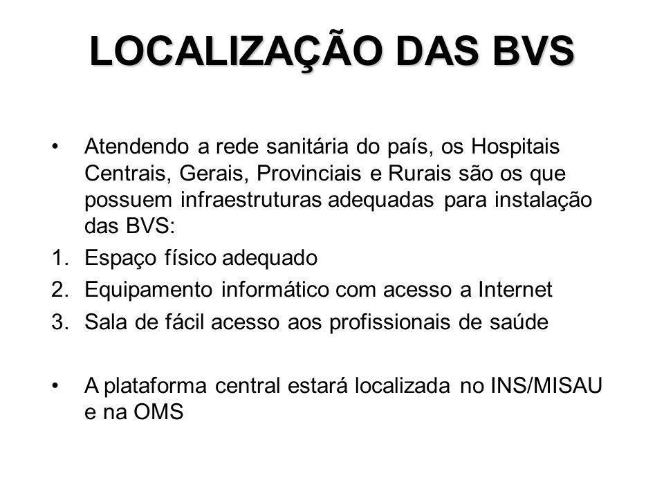 LOCALIZAÇÃO DAS BVS Atendendo a rede sanitária do país, os Hospitais Centrais, Gerais, Provinciais e Rurais são os que possuem infraestruturas adequad