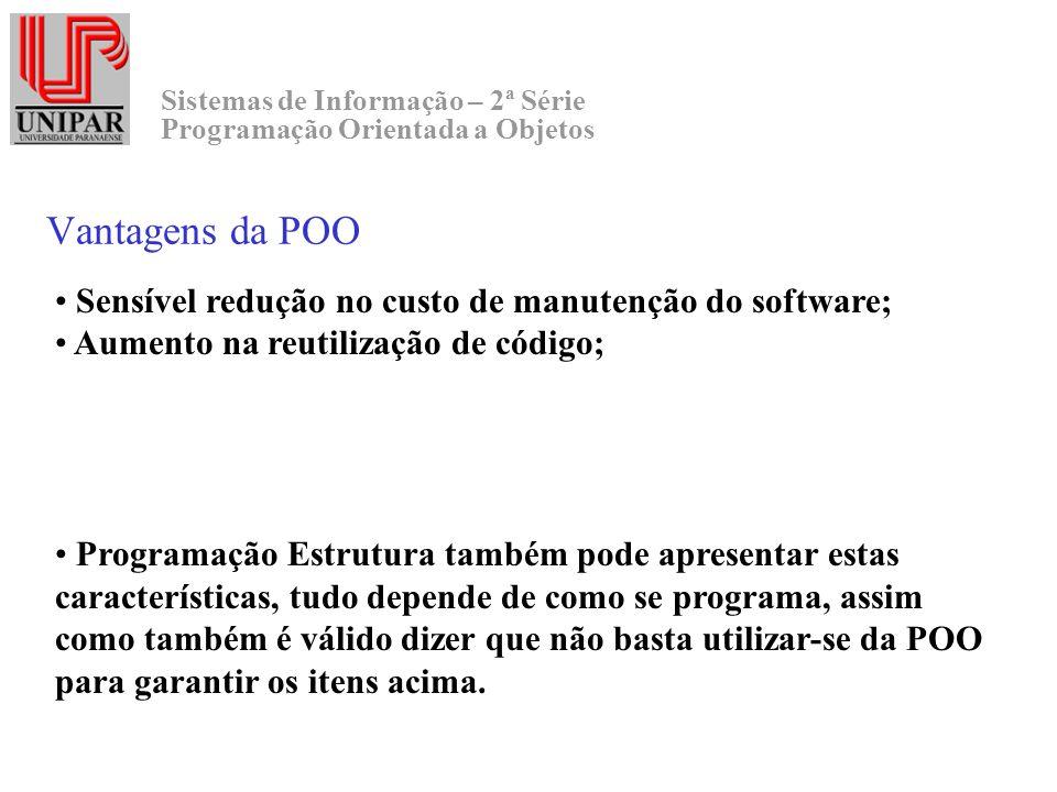 Sistemas de Informação – 2ª Série Programação Orientada a Objetos Vantagens da POO Sensível redução no custo de manutenção do software; Aumento na reu