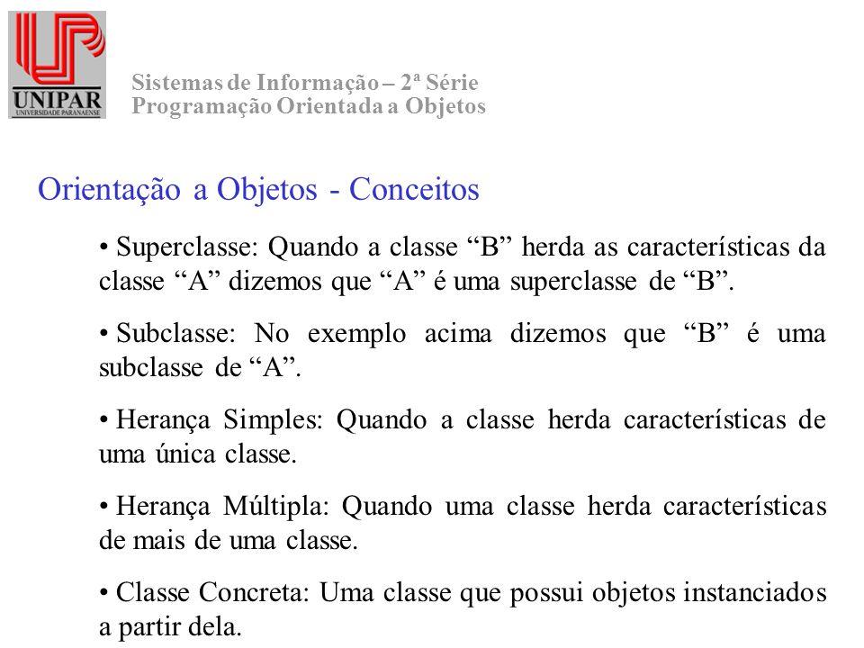 Sistemas de Informação – 2ª Série Programação Orientada a Objetos Orientação a Objetos - Conceitos Superclasse: Quando a classe B herda as característ